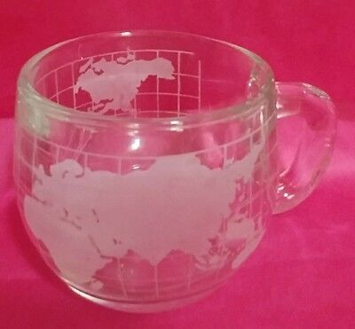 Vintage NESTLE WORLD MAP GLOBE HEAVY GLASS CUP COFFEE MUG 1970's