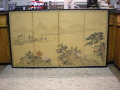 VINTAGE ASIAN JAPANESE 4 Panel Wall Art Painting On Silk Fabric ...