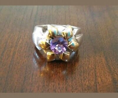 SOLID 14K GOLD & Sterling Silver AMETHYST  Ring. Sz 7 GORGEOUS!