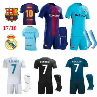 17/18 Soccer Football Club Jersey Short Sleeve Kids Boys Kit & Socks Real Madrid