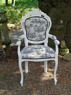 FRENCH  Louis  STYLE STATEMENT CHAIR Toile de Jouy Chair Shabby Chic