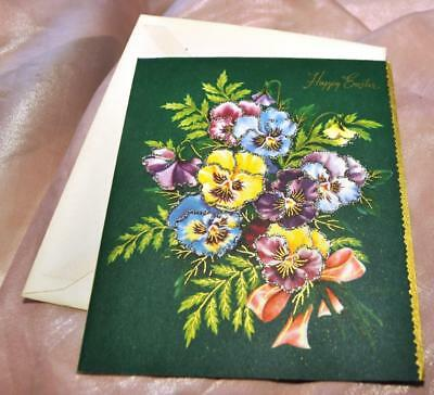 """Unused 1950S Vtg Easter Card Glitter Pansies, Embossed W Gilt Accents 6"""" X 5"""""""