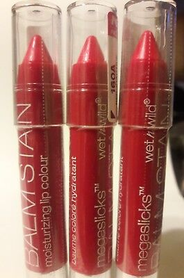 "LOT OF  3 WET N' WILD MEGASLICKS LIP BALM STAIN ""RED-IOACTIVE"" 0.10oz. , SEALED"