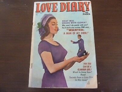 LOVE DIARY # 16 52 Page Precode Romance Comic- 2 Mort Leav Stories- Great Cover