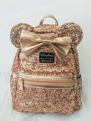New Disney Parks Minnie Mouse Rose Gold Loungefly Backpack 1 of 12 See More 06f0305e9d