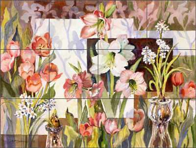 Floral Tile Backsplash McEachron Flower Art Ceramic Mural RW-AM007