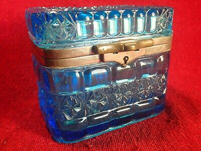 dated 1903 PRESSED BLUE GLASS SUGAR / TEA BOX JAR CONTAINER BOWL IMPERIAL RUSSIA