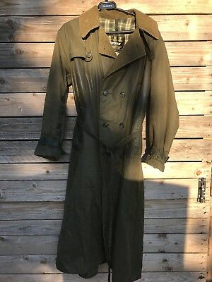 Original Barbour  Wax Jacket Trench Coat Duster Chest 40 Large Green