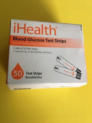 iHealth Blood Glucose Test Strips (50 Count Box)New Sealed Exp 03/2019
