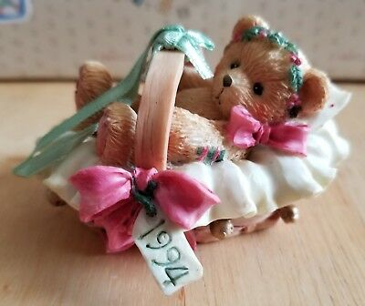 NEW Cherished Teddies - 1994 Beary Christmas - Baby In Basket Ornament - 617253