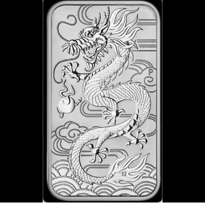 2018 Australian Dragon Rectangular 1oz Silver Coin Lovely