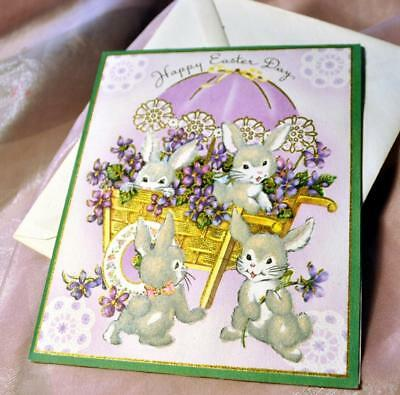 """Unused 1950S Vtg Easter Card Flocked Bunnies, Embossed W Gilt Accents 6"""" X 5"""""""