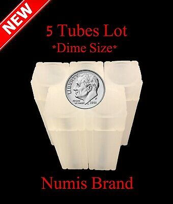 5 Numis Square Coin Tubes For US Dimes Stackable Safe Storage Durable Great Lid