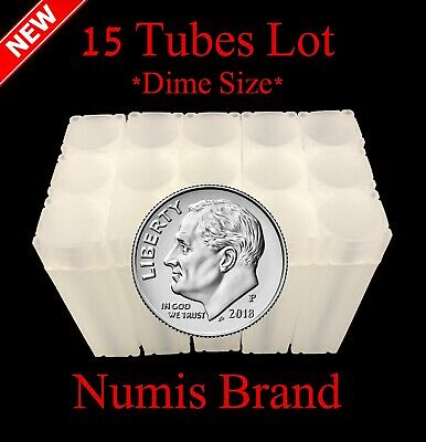15 Numis Square Coin Tubes For US Dimes Stackable Safe Storage Durable New Lot
