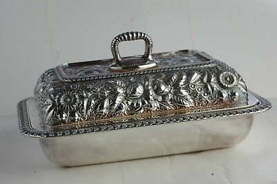 "Gorham Co. Silver Soldered 10"" Serving Dish with Lid Decorative Flower Detailed"