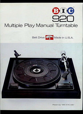 BIC 920 Multi Play Manual Turntable Rare Original Factory Dealer Sheet Page 1976