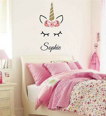 Sleeping Unicorn with Name Wall Decal, Personalized Decals, Girls Room, Nursery