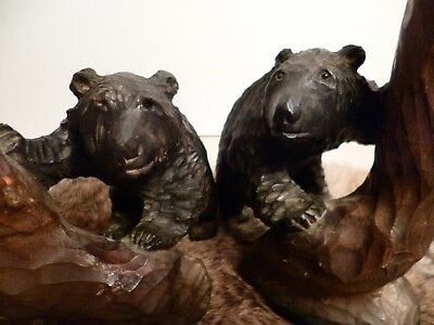 Antique Pair Of Black Forest Hand Carved Standing Bears Unusual W Tree Trunks