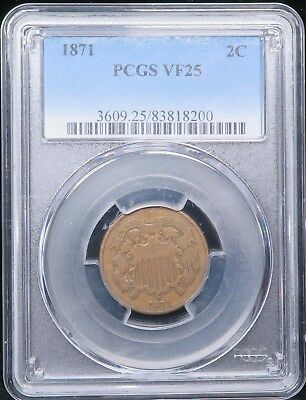 1871 Two Cent Piece 2C PCGS VF25