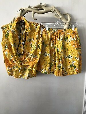 Vtg 70s Yellow FLORAL Print SLEEVELESS Top HIGH WAIST Short 2-Piece ROMPER Set S