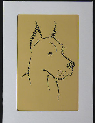 Hand painted Great Dane greeting card dot painting gift dog lover christmas #2