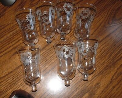 7 Home Interiors Etched Heart & ribbons Votive Cups Homco peg lites sconces Lot