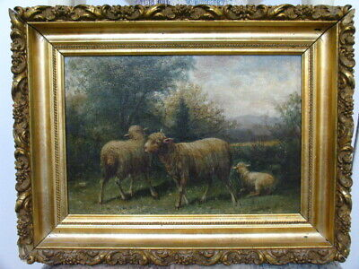 3 Antique 19th Century American Country Farm Pastoral Oil Painting Sheep