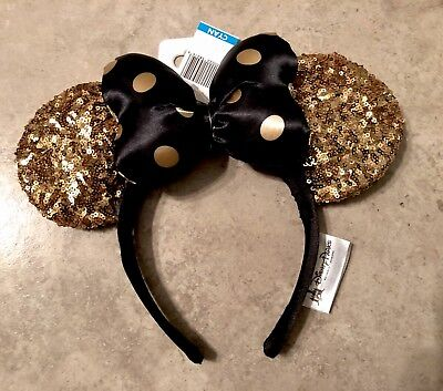 DISNEY WORLD PARKS Gold Black NWT! Minnie Mickey Ears Headband PARK Exclusive