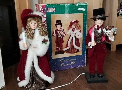 "TRADITIONS ANIMATED VICTORIAN COUPLE  Christmas Caroler Boy Girl 27"" PLEASE READ"