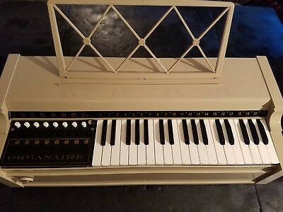 TESTED GOOD Vintage Organaire Model 0325V Beige Colored Electric Cord Organ