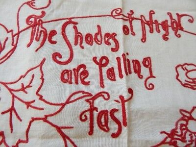 """Antique Redwork Embroidery Pillow Layover """"The Shades of Night are Falling Fast"""""""