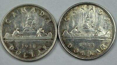 2x 1938 Canadian 80% Silver Dollar Lot Canada $1 Old Coins NR Free Ship P3R