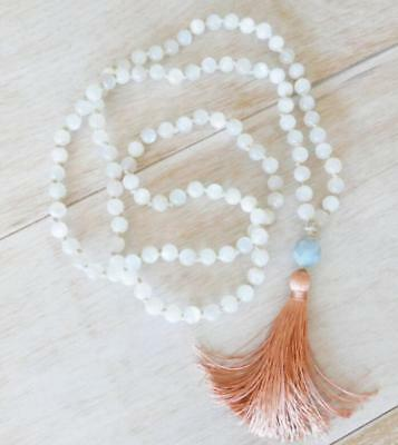 8mm Natural Moonstone yellow Tassels 108 Beads Necklace yoga Mala meditation