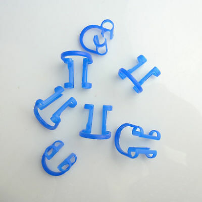 500 Pcs NEW Dental Cotton Roll Holder Disposable Blue Teeth Cilp Holders