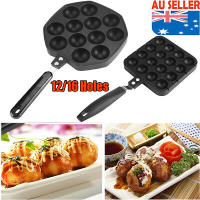 16/12 Holes Takoyaki Cake Maker Grill Pan Octopus Grill Tray Mold Baking Pan New