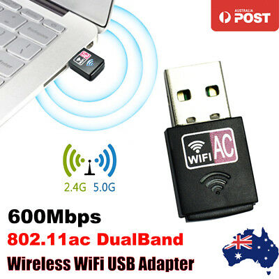 WiFi Adapter Dongle DualBand USB Wireless AC600 600Mbps Network 2.4GHz 5GHz