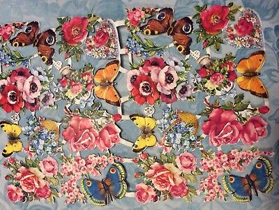 Antique Victorian Flower Butterfly Scraps Germany