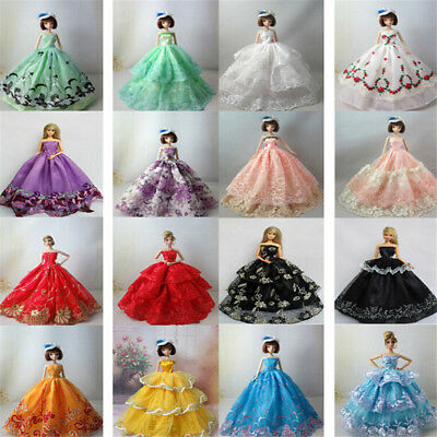 5Pcs Handmade Beautiful Doll Wedding Dress For Barbie 1/6 Doll Clothes Gown HT