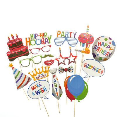 18pcs Birthday Balloons Photo Booth Props Kids Party Decorations Supplies HT
