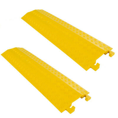 2x 1m 1channel Cable Hose Electrical Wire Cord Floor Cover Protector Ramp Rubber