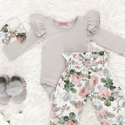 Newborn Infant Baby Girl Floral Clothes Jumpsuit Romper Bodysuit Pant Outfit Set