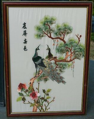 Chinese Framed embroided white silk  picture of peacocks in a tree
