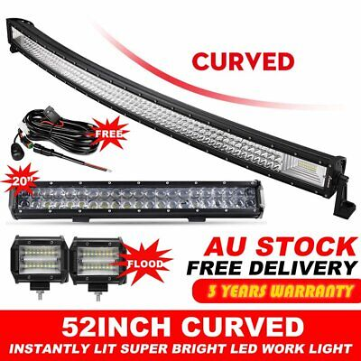 """Tri Row 52""""inch 3000W Curved LED Light Bar Combo+ 20"""" +4"""" CREE PODS OFFROAD"""