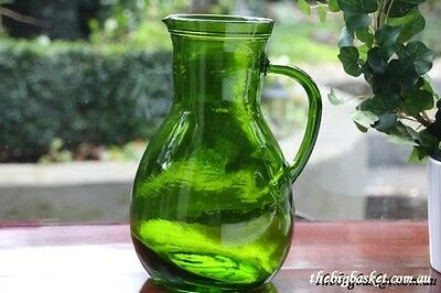 Jug Green Glass Pitcher Decanter   new
