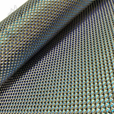 Metallic Carbon fiber &Blue reflection mixed fabric 250gsm Carbon cloth 50*100cm