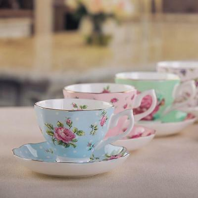 Bone china English Flower Tea Cup Coffee Mug Porcelain Saucer Ceramic Set