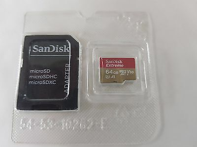 Sandisk 64GB Extreme Micro SD XC A1 UHS-I Card 4K UHD (Up to 100mb/s) Brand New