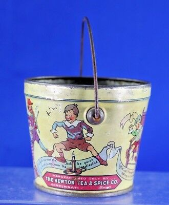 Antique Red Seal The Newton Tea And Spice Peanut Butter Nursery Rhyme Tin Pail