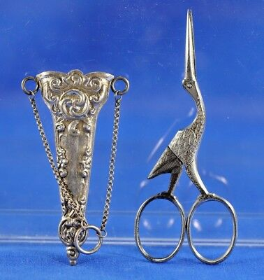 Antique Sterling Silver Sewing Scissor Holder And Stork Scissors