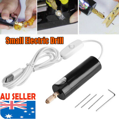 DC5V Mini Micro Small Metal Electric Motor Hand Drill w/ USB Cable PCB 3X Bits D
